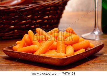 Fresh Baby Carrots In A Dish
