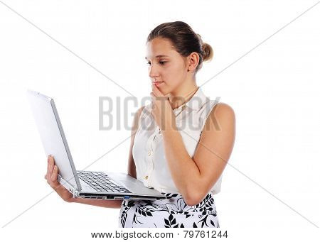 Young Women With Laptop, Cut Out