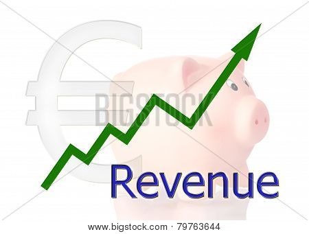 Green Diagram Upwards Revenue With Piggy Bank