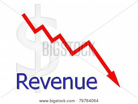 Red Diagram Downwards Revenue With Dollar Symbol
