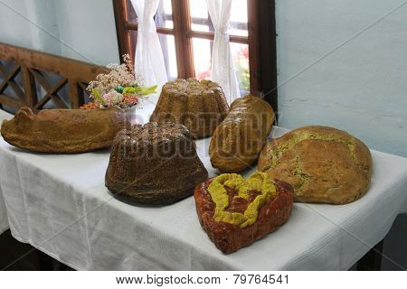 KUMROVEC, CROATIA - SEPTEMBER 24: Festive table in Ethnological Folk Museum Staro Selo in Kumrovec, Northern County of Zagorje Croatia on September 24, 2013.