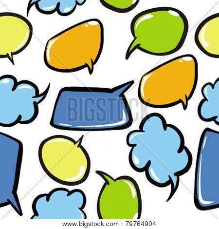 speech bubbles seamless pattern on white