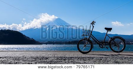 The Bicycle Park At Kawaguchiko Lake Of Mountain Fuji