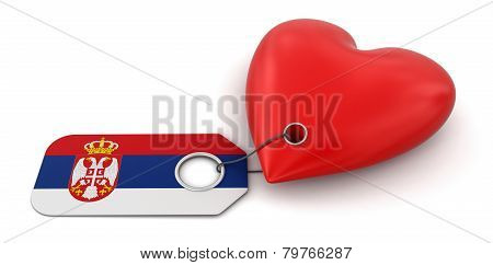 Heart with Serbian flag (clipping path included)