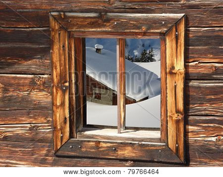 snow ski cottage in the woods window