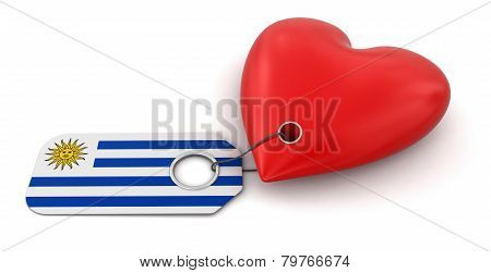 Heart with Uruguayan flag (clipping path included)