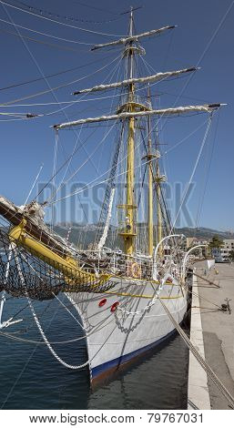 Rigging Of Old Sail Training Ship Jadran In Tivat, Montenegro.