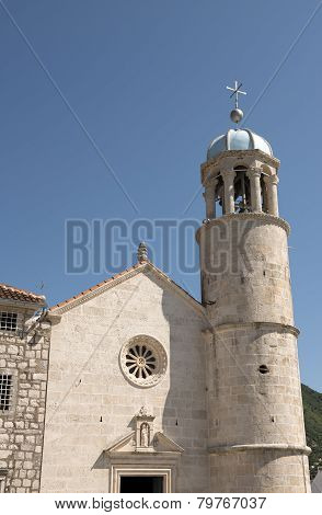 Our Lady Of The Rocks Church On Manmade Islet, Montenegro.