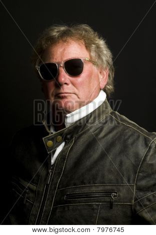 Handsome Middle Age Senior Man Motorcycle Jacket