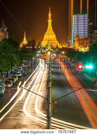 Sule Pagoda At Night, Yangon, Myanmar