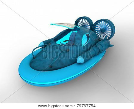 Futuristic Hover Car With Opened Cabin