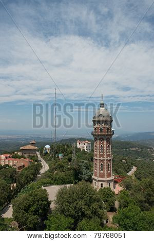 View Of Water Tower At Tibidabo Mountain, Barcelona, Catalonia, Spain.