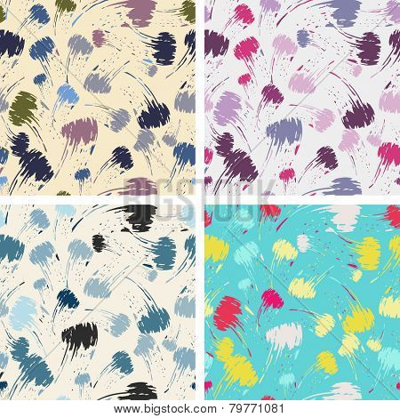 seamless brush stroke pattern set