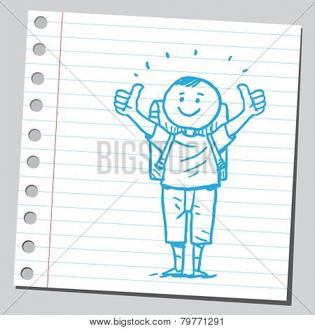 Schoolkid with thumbs up