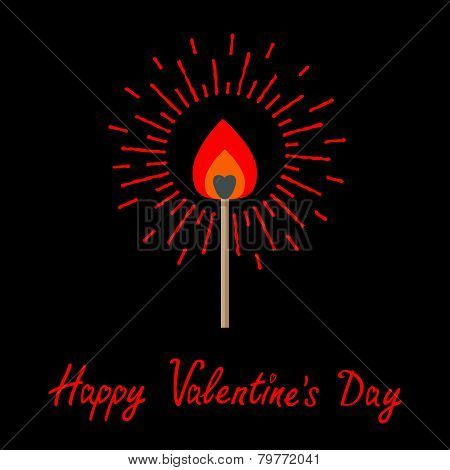 Burning Love Match With Red And Orange Fire Light Shining Sunlight Effect. Flat Design Style. Happy