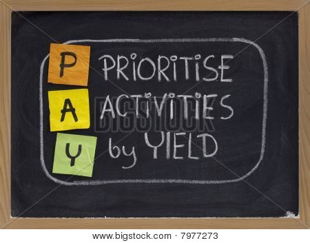 Prioritise Activities By Yield - Pay