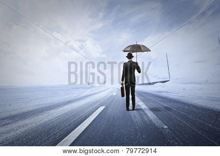 Man in a snowy road