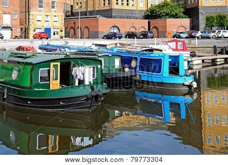 Narrowboats in Gloucester docks.
