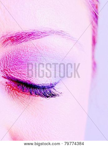 Eye Of An Attractive Young Woman Closed