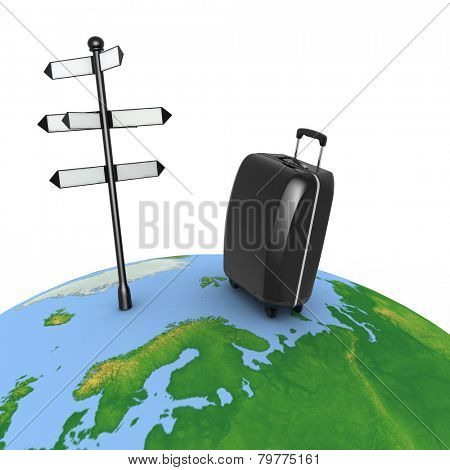 Travel concept. Signpost and suitcase on a globe. 3d render illustration