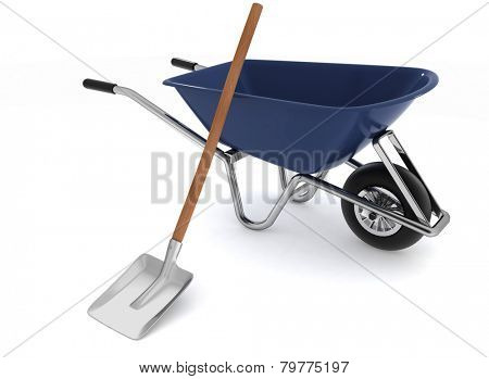 Garden tools. Garden wheelbarrow and a shovel. 3d illustration on a white background