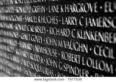 Vietnam war veterans memorial in Washington DC