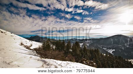 Majestic sunset in the mountains landscape. Sunset landscape in Carpathian mountains.