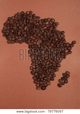 Africa Continent Map Made Of Coffee Beans