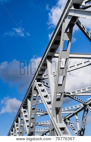 Closeup Of An Old Truss Bridge In The Netherlands