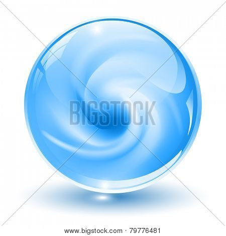3D crystal, glass sphere, blue with abstract spiral shape inside, vector illustration.