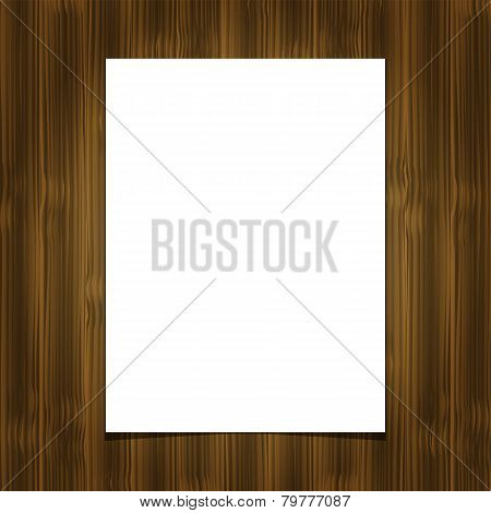 White blank paper  sheet on wooden background