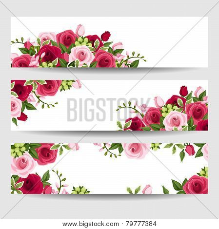 Banners with red and pink roses and freesia flowers. Vector illustration.
