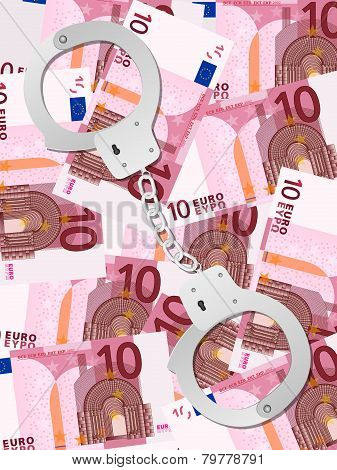 Handcuffs On Ten Euro Background Vertical