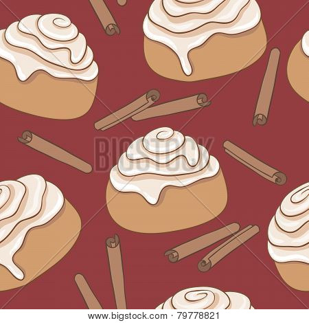 Seamless pattern with cinnamon rolls and sticks of cinnamon