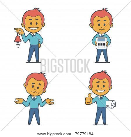 Set of four flat character businessmans.