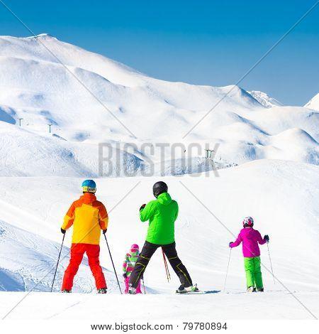 Family on ski vacations.