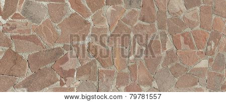 Decorative Mosaic Of Natural Broken Stone Tiles As Background.