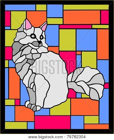 stained glass cat 2