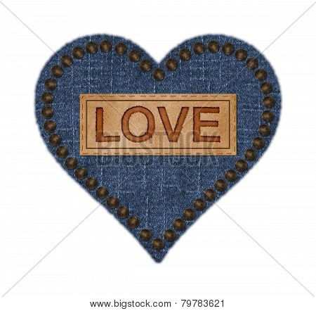 Denim and Leather Heart