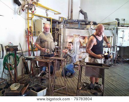 Czech Glassmakers Working