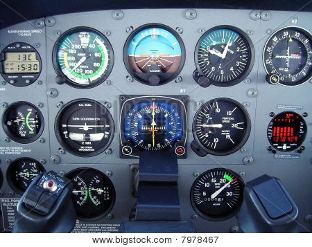 Small Cessna airplane instrument panel