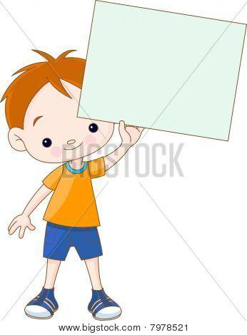 Boy holding blank sign