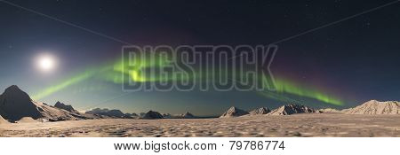 Northern Lights - Arctic winter landscape - panorama