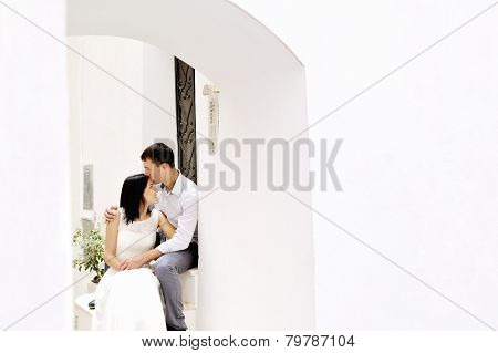 Romantic Couple Tenderly Together After Their Wedding In Sperlonga