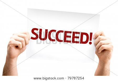 Succeed! card isolated on white background
