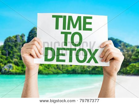 Time to Detox card with a beach on background