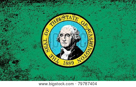 Flag Of Washington State With Grunge