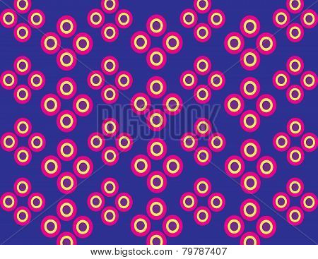 Concentric fuchsia, yellow and violet circles.