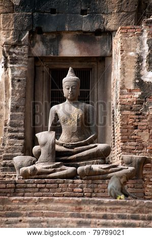 Ancieng Buddha In Phra Prang Sam Yod Temple,Thailand.
