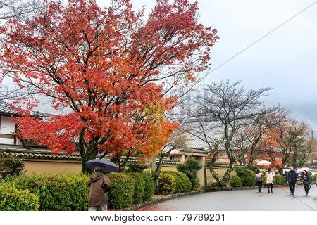 KYOTO, JAPAN - DECEMBER 1, 2014: Tourists visit the Arashiyama area in Kyoto, Japan famous for the traditional Japanese architecture of the homes and gardens.